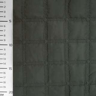 "Плащевка стеган. т/зеленая матовая ""квадраты"" ш.145"