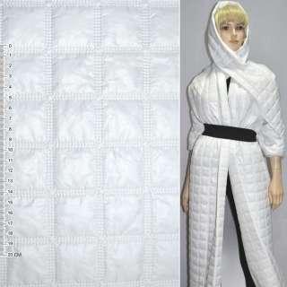 """ткань плащевая стеган. белая матовая """"квадраты"""" ш.150"""