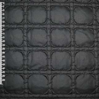 Тканина плащова стеганая чорна з вишитими квадратами, ш.150