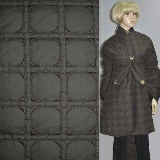 Тканина плащова стеганая коричнева темна з вишитими квадратами, ш.150