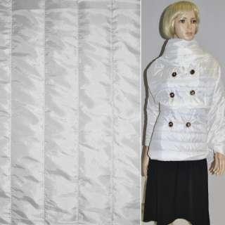 """Ткань плащевая стеганая белая """"полоска"""" (5,00см) ш.150"""