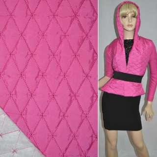"ткань плащевая стеган. розово-малиновая матовая ""ромбы"" ш.150"