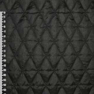 "ткань плащевая стеган. черная матовая ""ромбы"" ш.145"