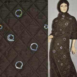 Тканина плащова коричнева темна з вишивкою та паєтками