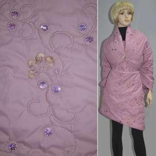Ткань плащевая стеганая розовая с вышивкой и пайетками, ш.150
