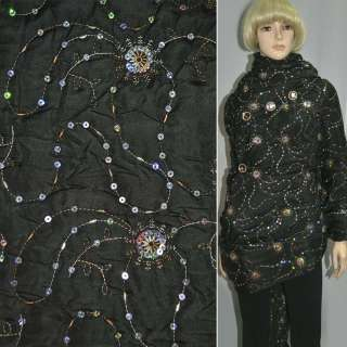 Ткань плащевая стеганая черная с вышивкой и пайетками