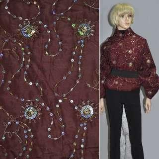 Ткань плащевая стеганая бордо с пайетками