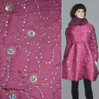 Ткань плащевая фуксия с вышивкой и пайетками