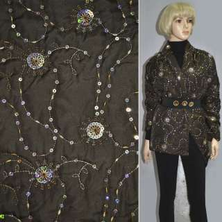 Ткань плащевая стеганая коричневая темная с вышивкой и пайетками