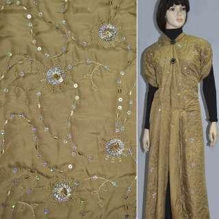 Ткань плащевая бежевая темная с вышивкой и пайетками
