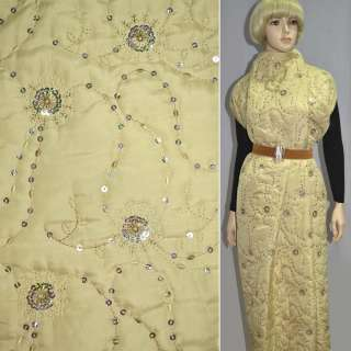Ткань плащевая стеганая бежевая с вышивкой и пайетками