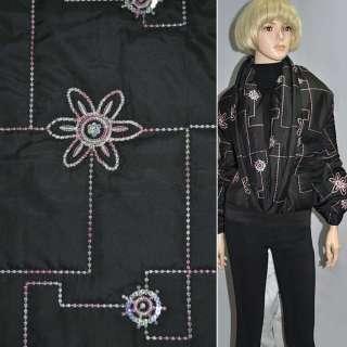 Тканина плащова стеганая чорна з вишитою квіткою і паєтками