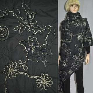 Ткань плащевая стеганая черная с вышитыми бежевыми цветами с пайетками, ш.150