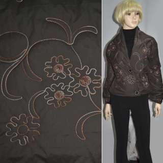 Ткань плащевая стеганая коричневая темная с вышитыми цветами
