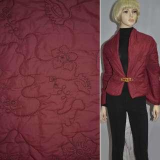 плащевка стег. красная с вышив. и цветами, ш.150