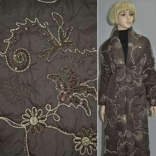 Плащевка стеганая коричневая с вышитыми цветами с пайетками, ш.150