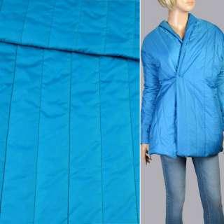 Ткань плащевая стеганая голубая матовая полоска (5см), ш.150