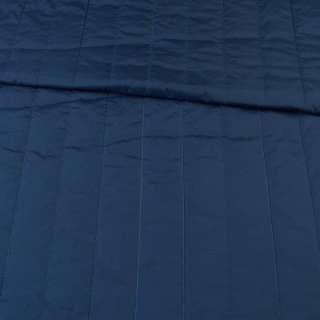 Тканина плащова стеганая синя темна матова смужка (5 см), ш.145