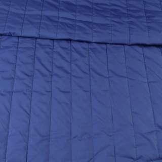 Тканина плащова стеганая синя матова смужка (5 см), ш.145