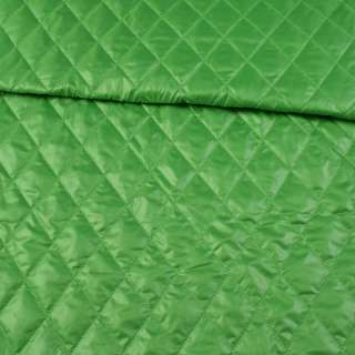 Тканина плащова стеганая зелена ромби ш.150