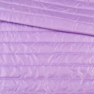 Ткань плащевая стеганая сиреневая на подкладке полоска 5см, ш.150