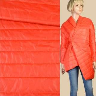 Ткань плащевая стеганая оранжевая на подкладке полоска 5см, ш.150
