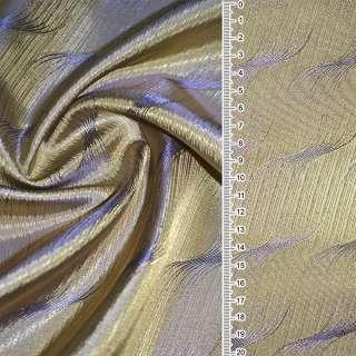 "Вискоза жакард. золото-фиолет.""волны""ш.140"
