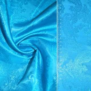 """віскоза жаккард. яскраво-блакитна """"огірки"""" ш.146"""