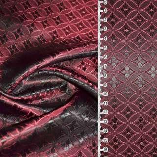 Вискоза жаккардовая красно-черная хамелеон ромбы с овалом ш.140