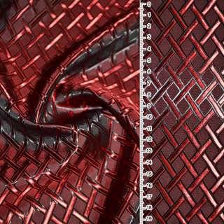 "Вискоза жак. красно-черная хам. ""диагон. клетка"" ш.140"