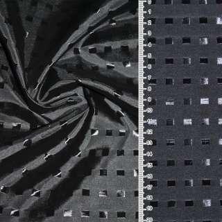 Вискоза жаккардовая темно-серая в черные квадраты  ш.145
