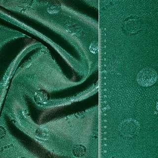 Жаккард атласный зеленый в кружочки ш.150