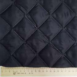 Тканина підкладкова термостьобана синя темна (синтепон 100), ш.150