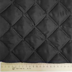 Тканина підкладкова термостьобана чорна (синтепон 100), ш.150