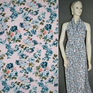 Креп поплин бледно-розовый с синими цветами ш.150
