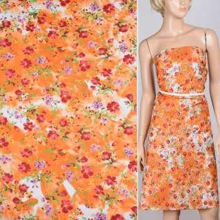 Поплін оранжево-білий з бордовими квітами ш.150