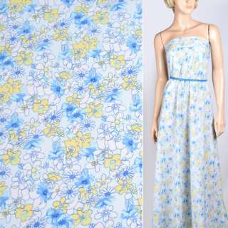 Поплін білий в жовто-блакитні квіти ш.145