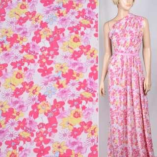 Поплин белый в желто розовые цветы ш.145