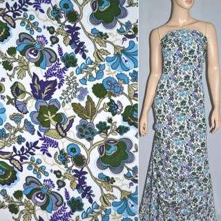 Поплин белый в фиолетово голубые цветы ш.145