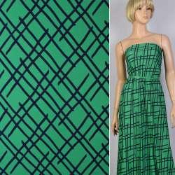 Поплин зеленый (изумрудный) в синие линии ш.150