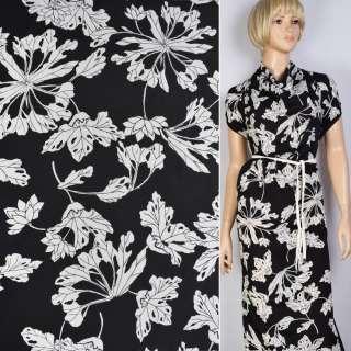 Поплин черный в белые большие цветы ш.147