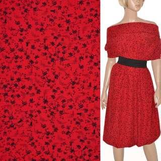 Поплин красный с черными цветами ш.150