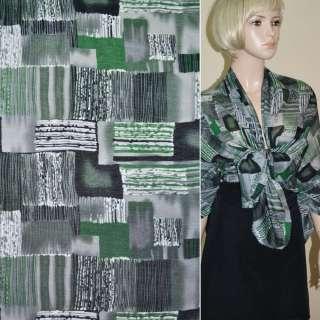 Поплін сірий світлий з зелено-чорними прямокутниками в смужку ш.150