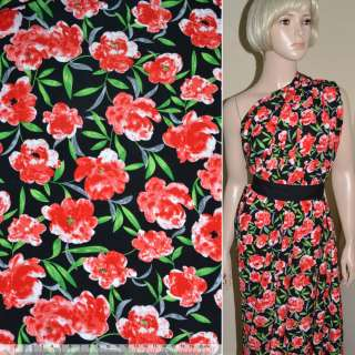 Поплін Діллон чорний з червоними квітами ш.150