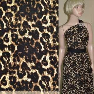 Поплін Діллон коричневий темний принт леопард ш.145