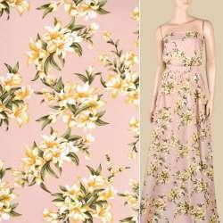 Поплин фрезовый, бежево-белые лилии, ш.150