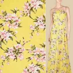 Поплин лимонный, розовые лилии, ш.150