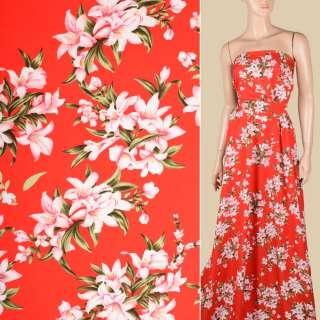 Поплин красный, бело-розовые лилии, ш.150