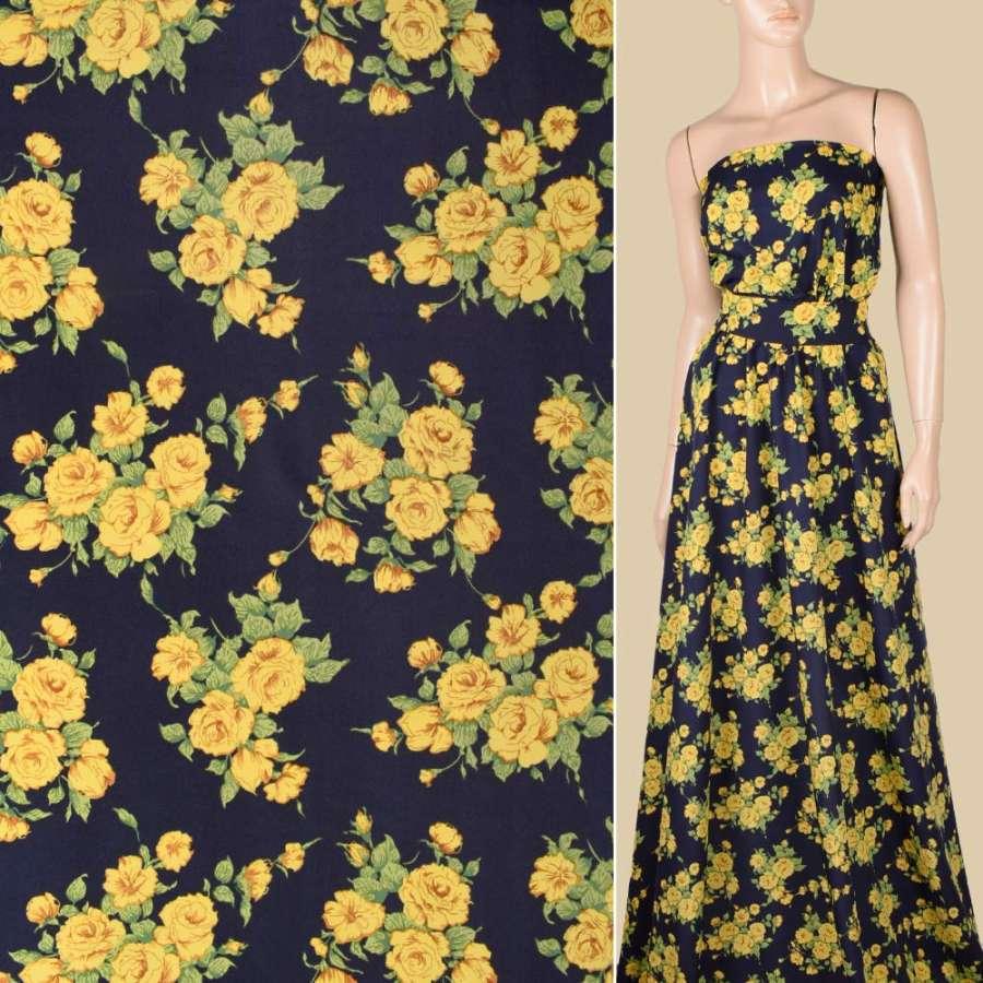 Поплин синий темный, желтые розы, ш.150