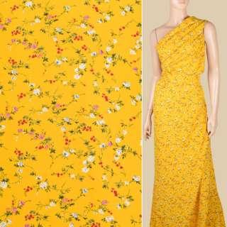 Поплин желтый яркий, мелкие розочки, ш.150